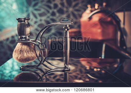 Gentleman's accessories in a luxury bathroom interior.