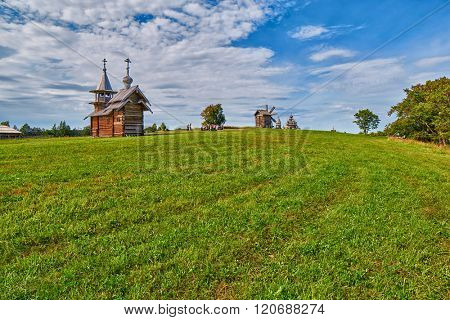 Abstract Grass Field Background on Kizhi Island, Russia