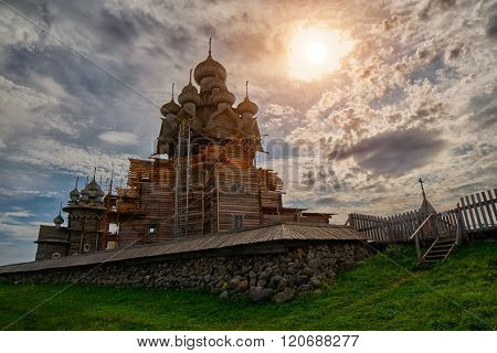 Sunset oven Wooden Church under construction in Kizhi Island, Russia