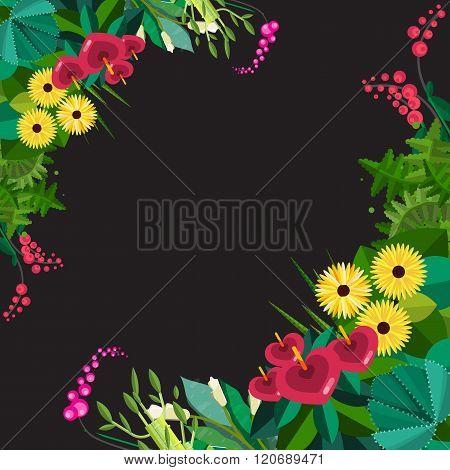 Vector flat floral frame. Home Plants frame. Spring floral flat frame. Floral plants frame isolated