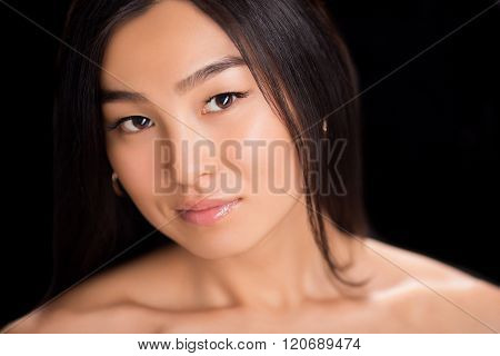 Close-up of face of Asian lady