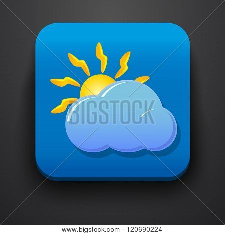 Weather symbol icon on blue