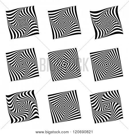 Design elements set. Torsion movement illusion. Vector art.