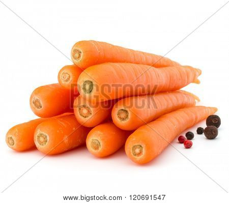 Sweet raw carrot tuber isolated on white background cutout