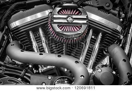 Detail Of V-twin Engines Of Motorcycle