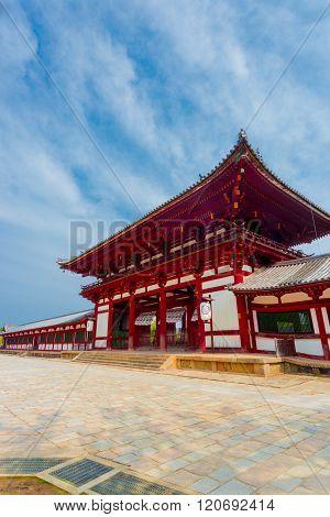 Todai-ji Temple Red Gate Angled Blue Sky V