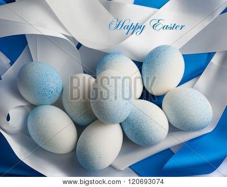 Easter eggs in blue tones