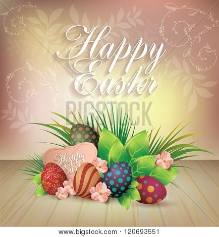 Bright Easter Card. Template card with Easter eggs and  grass