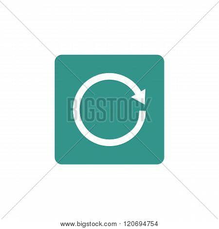 Reload Icon, On Green Rectangle Background, White Outline