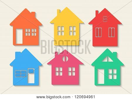 Houses icons set. Real estate. Colourful home icon collection concept.