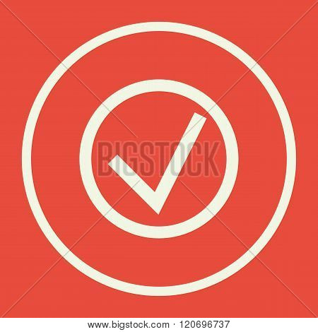 Accept Icon, On Red Background, White Circle Border, White Outline