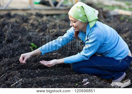 Garden Works. Young Woman Working in the Garden. Healthy Lifestyle