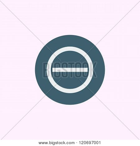 Minus Icon, On Blue Circle Background, White Outline