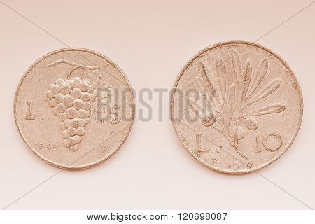 Old Italian Coins Vintage