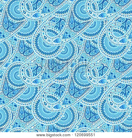 Solid Blue Waves Paisley Pattern
