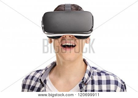 Joyful man using a VR headset and experiencing virtual reality isolated on white background