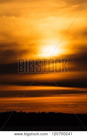Fiery sunset background