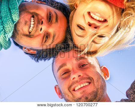 Group Of Best Friends Hugging Together Outdoor In A Circle Smiling At Camera