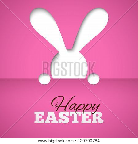 Happy easter card with hiding bunny and font on pink paper background