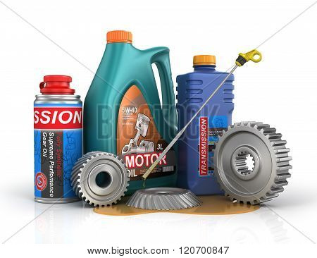 Concept Of Auto Service. Cans Of Motor Oil And Gear Oil With Gears And Oil Dipstick.