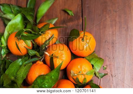 Fresh Tangerine Clementine On The Wooden Table, Top View