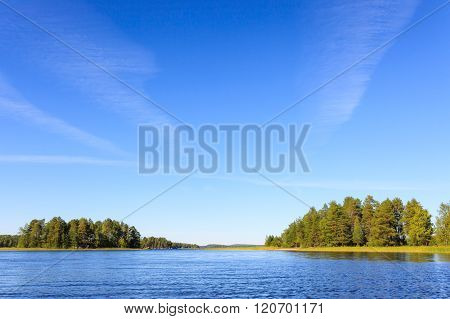 Lake scenery in Finland on a sunny day