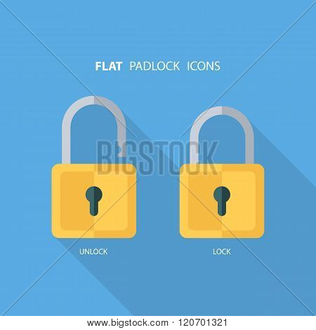Flat padlock icons. Lock and unlock. Concept password, blocking, security. Lock symbol.