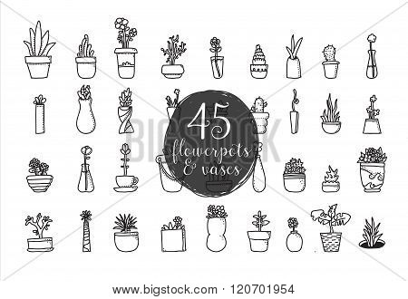 Set Of 45 Flower Pots And Vases. Hand Drawn Vector Design.