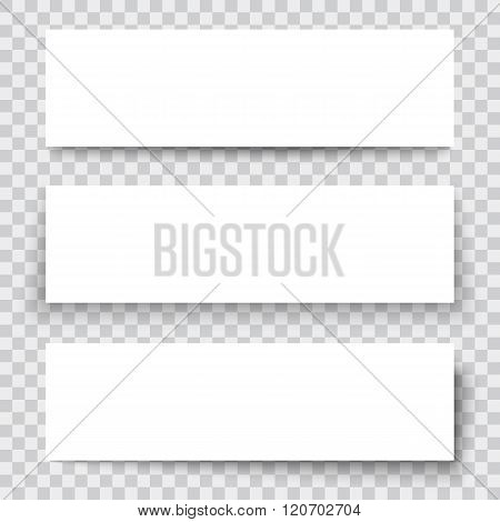 Blank sheet of paper with vertical banner and shadows, design elements