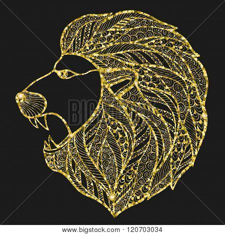 Head roaring lion style zentangle.