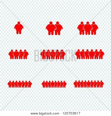 multiple red images of Fat People Icon Illustration design.