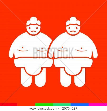 an images of 2 red and white Sumo wrestling People Icon Illustration design