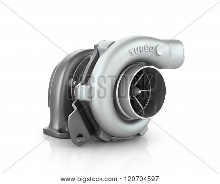 Steel Turbocharger Isolated On White Background High Resolution 3D