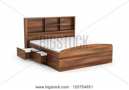 Double Bed With Drawer From Below, Isolated On White Background