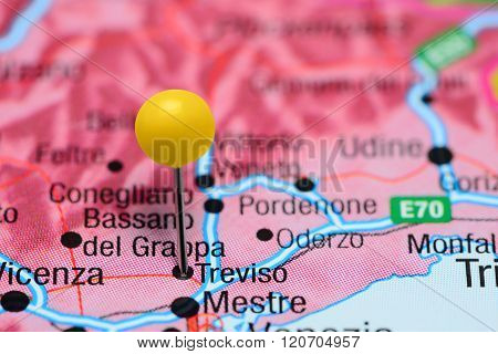 Treviso pinned on a map of Italy