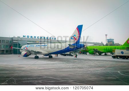 Novosibirsk, Russia - March 02, 2016: Airbus A321 Ural Airlines Standing At Tolmachevo International