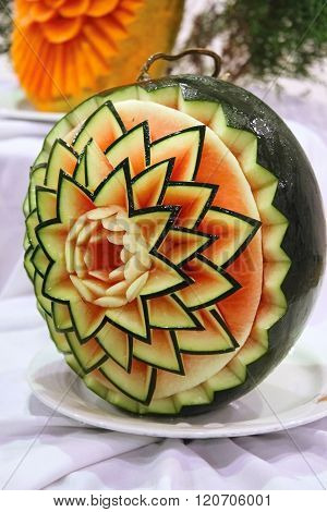 Ripe Berry Is Carved In Form Of Flower Watermelon