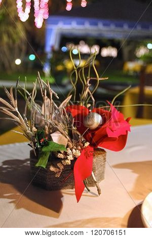 Celebration Table Decoration With Red Bow, Evening Meal