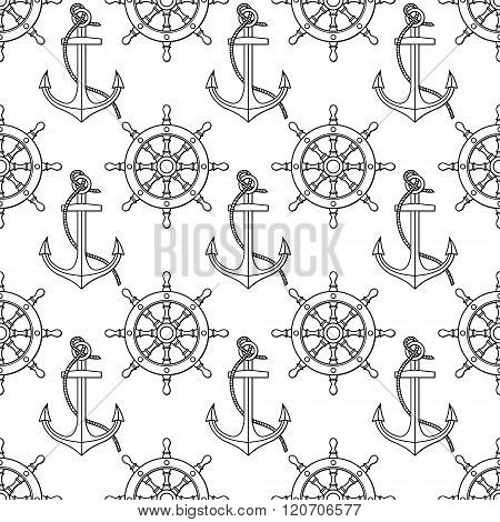 Vector pattern with anchors, lifebuoies, ship's wheels, compasses