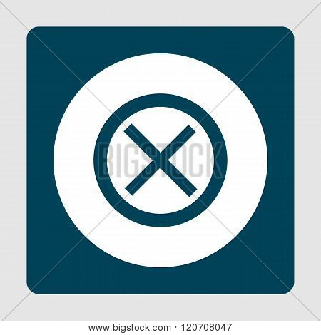 Cancel Icon, On White Circle Background Surrounded By Blue