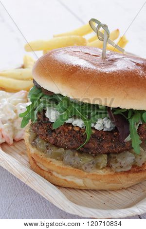 Image of vegie burger in brioche bun