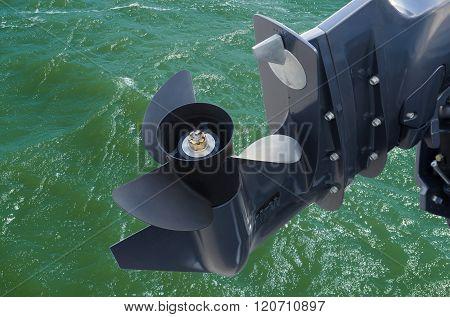 Screw Of Motor Boat On Sea  Background