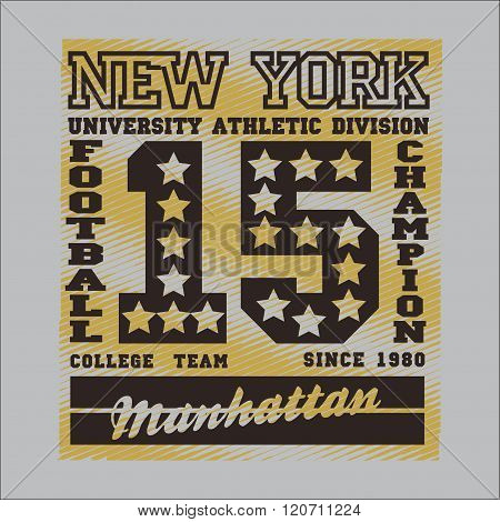 T-shirt,  New York Typography, Footbal Design Graphic