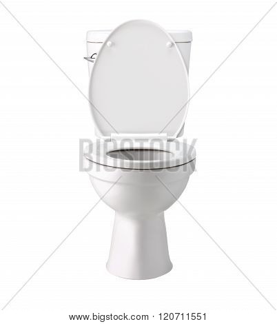 White Toilet Bowl Bowl In A Bathroom, Isolated On White, Photo Image With Clip Path