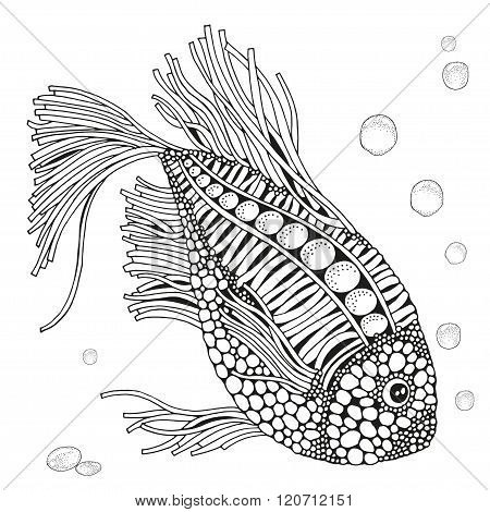 Fantastic Fish Floats On The Sea Bottom. Beautiful Art Background.  Hand-drawn, Ethnic, Floral, Retr