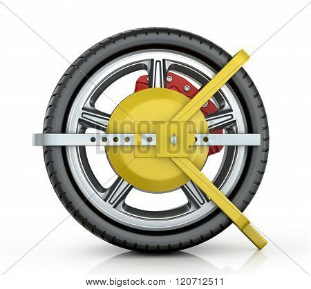 Yellow Wheel Clamp On A White Background.