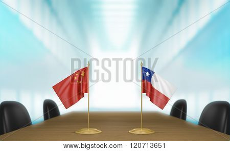 China and Chile relations and trade deal talks 3D rendering