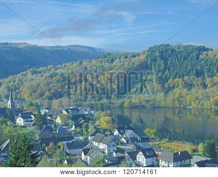 Village of Einruhr in Eifel National Park at Rur Reservoir,Germany