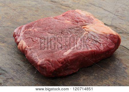Image of raw uncooked brisket flat iron steak