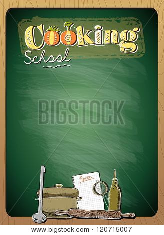 Cooking school menu list with place for text against green chalkboard in wooden frame